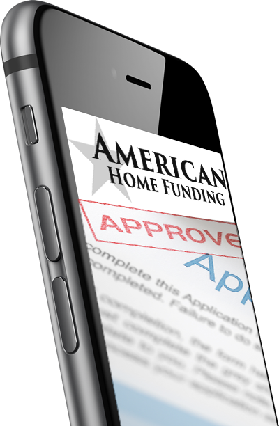 Cell phone with American Home Funding website